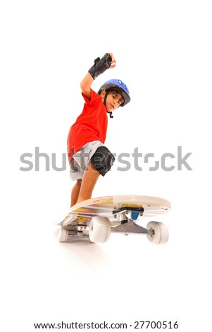Boy playing with his skate on white .