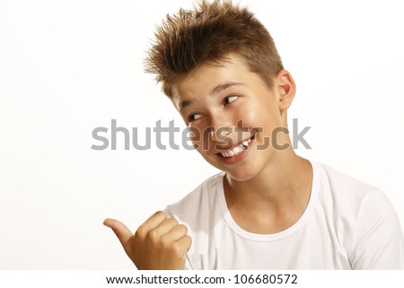 boy pointing on white