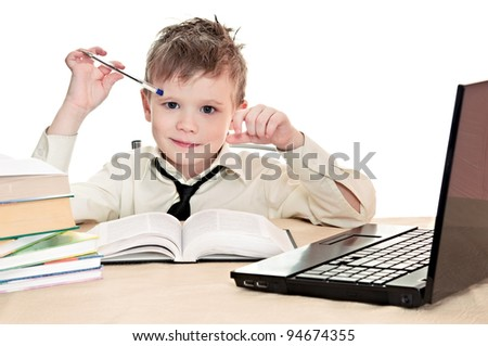 boy pupil thinks for in time  homework