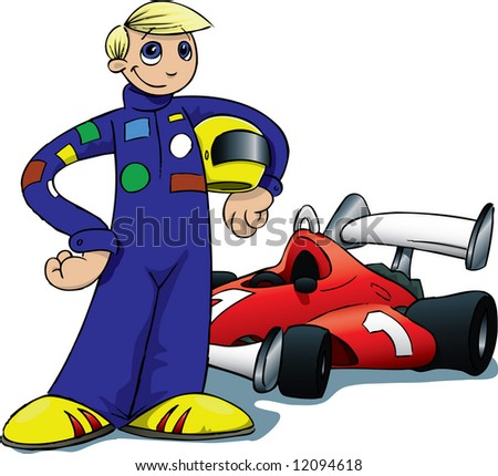 Cartoon Race Car Driver
