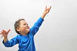 boy reaching up to the sky stock image on white background with people stock photography stock photo