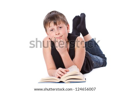 boy reading a book on white background - stock photo