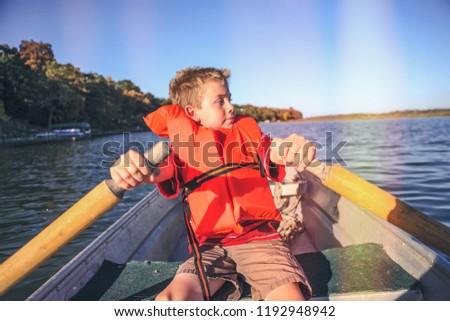 Boy rowing a boat on a lake