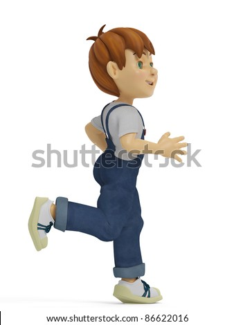 boy running left side view