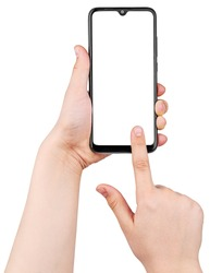 Boy's Hands Uses Smartphone Isolated on White Background. Child's Hands Hold Black Smartphone and Finger Touches the Screen at Vertical Position. Screen Blank. Close-Up.