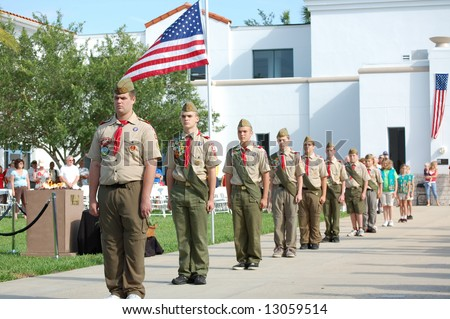 Boy Scouts at Memorial Day ceremony - stock photo