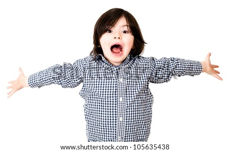 Boy screaming with arms open - isolated over a white background