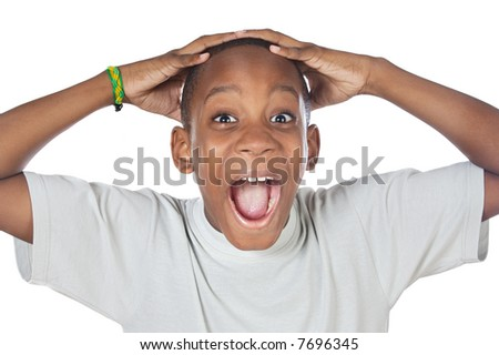 boy shouting madly with his hands over his head