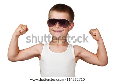 boy showing his muscles isolated on white