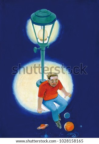 boy sitting in a circle of light from the lamp post lets his legs dangle in the dark where you can see the planets and galaxies surrealism concept illustration dream