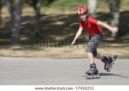 boy skating on the rollerblades