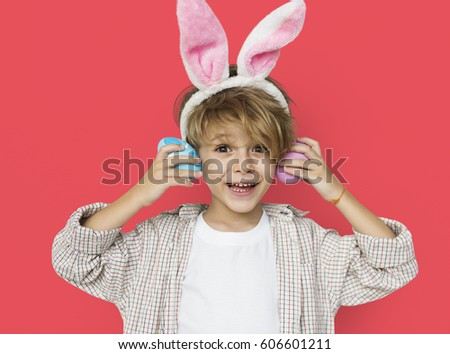 Boy Smiling Easter Holiday Concept #606601211