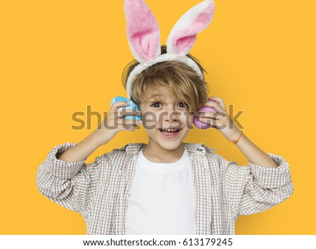 Boy Smiling Easter Holiday Concept #613179245