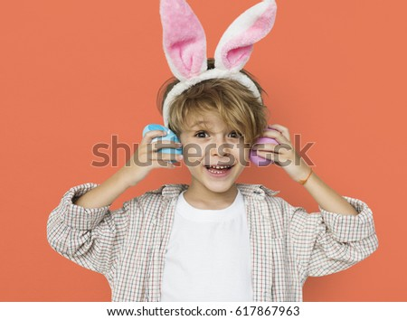 Boy Smiling Easter Holiday Concept #617867963