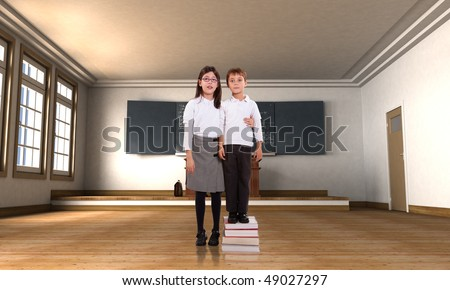 Boy standing on a pile of books with tall girl in a classroom
