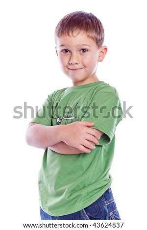 boy standing on floor isolated on white