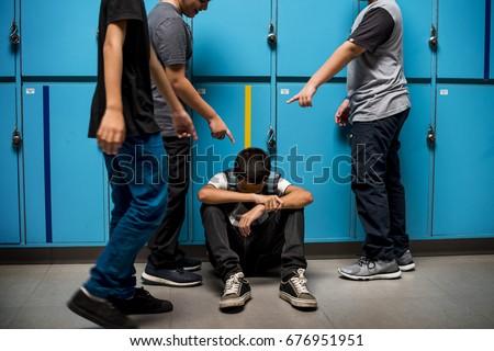 Boy student getting bullied in school Stock foto ©