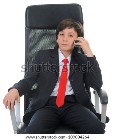 boy talking on the phone. Isolated on white background