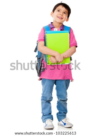 Boy thinking about school - isolated over a white background