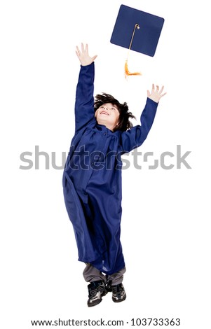 Boy throwing mortarboard - isolated over a white background