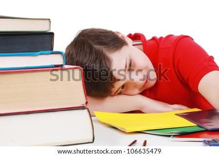 Boy tired of school work