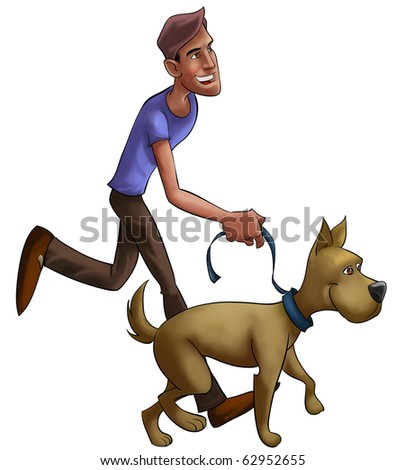 boy walking with his dog, he is happy and the dog looks like too