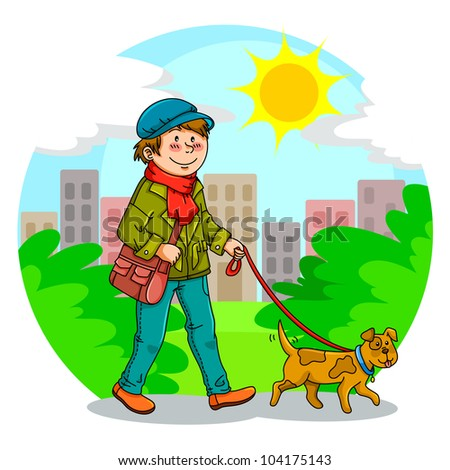 boy walking with his dog in the park (vector available in my gallery)