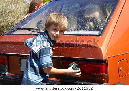 Boy Wash Boy Washing Car Stock Photo