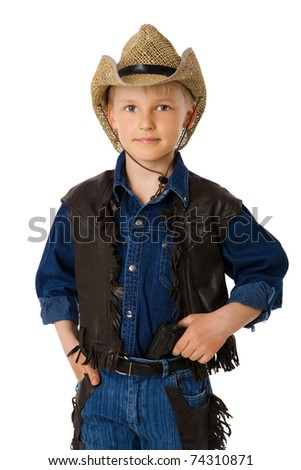 boy wearing clothes of cowboy isolated on white