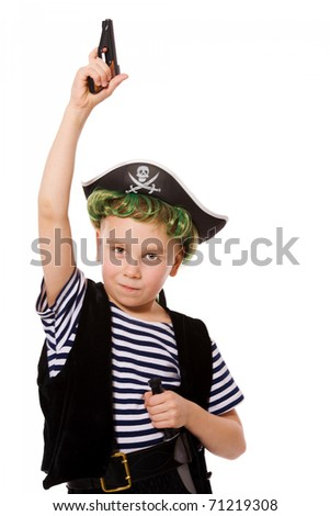 Boy wearing pirate costume shooting pistol isolated on white