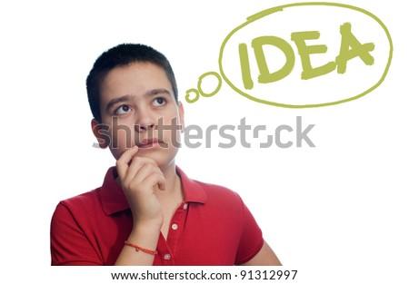 boy who thinks an idea