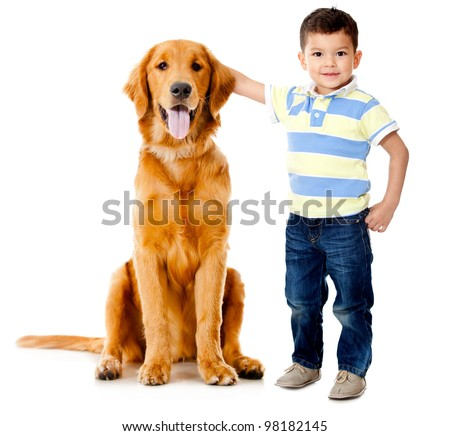 Boy wih a beautiful dog��� - isolated over a white background