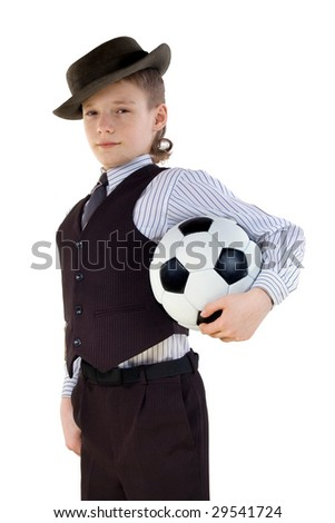 boy with a ball in a formal dress on a white background