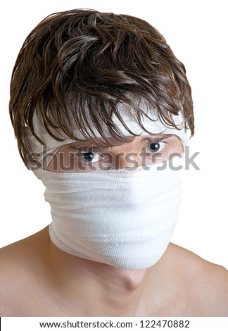 boy with a bandage wrapped