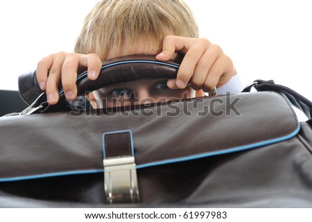 boy with a briefcase. Isolated on white background - stock photo