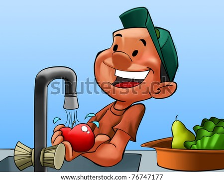 boy with a hat washing some fruits in the kitchen