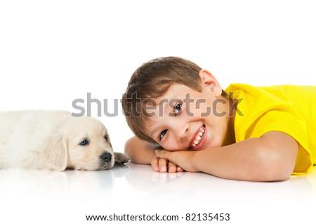 boy with a puppy