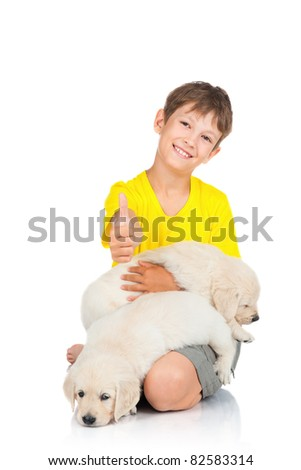 boy  with a puppy
