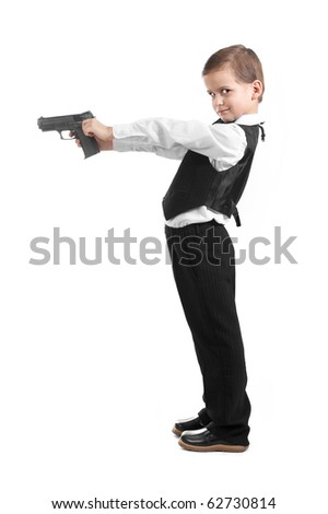 Boy with a weapon on a white background