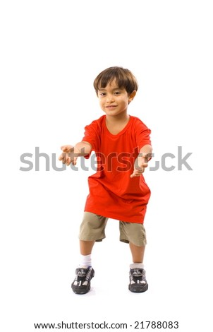Boy with arms open waiting a ball . - stock photo