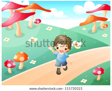 Boy with arms open walking on pathway