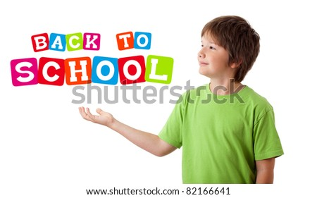 Boy with back to school theme isolated on white