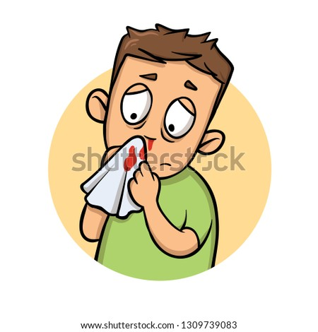 Boy with bleeding nose. Cartoon design icon. Colorful flat illustration. Isolated on white background. Raster version.