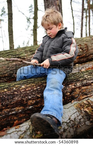 Boy with carving knife