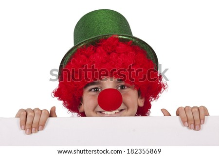 boy with clown nose and hat...