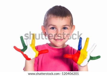 Boy with colorful hands very happy