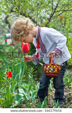 Boy with Easter Basket hunting on Easter Eggs - stock photo