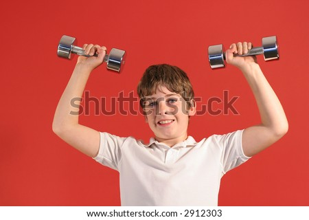 boy with fitness weights