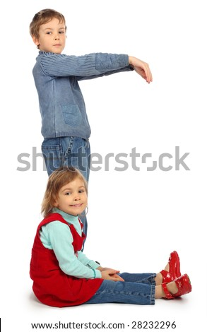 boy with girl represent  letter C