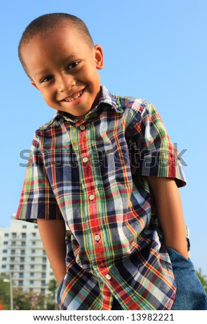 Boy with Hands in His Pocket - stock photo